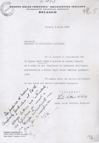 La Delasem al Comitato di Liberazione nazionale, 5 marzo 1945 - INSMLI, Archivio CLNAI, b. 2