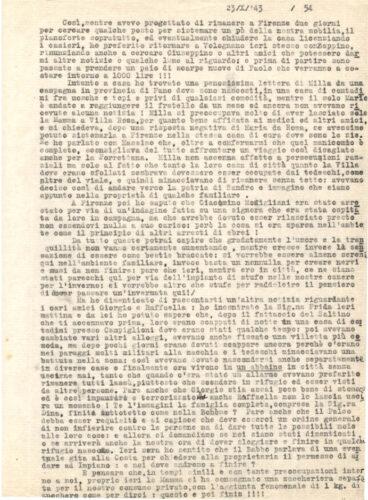 Dal diario di Elio Salmon nascosto nella campagna toscana, 23 ottobre 1943 - Archivio privato, Torino