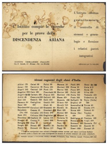 """L'istituto genealogico italiano offre la propria consulenza per ricostruire la discendenza ariana. - Archivio CDEC, Fondo Vicissitudini dei singoli, b. 9, fasc. 265 - <a href=""""http://digital-library.cdec.it/cdec-web/storico/detail/IT-CDEC-ST0005-000362/foa-aldo.html"""" target=""""_blank""""  >vai alla scheda</a>"""