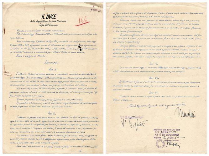 Decreto del Duce del 4 gennaio 1944 n. 2 di confisca dei beni ebraici - ACS, RSI, Leggi e decreti, b. 2 (concessione n. 484/04)