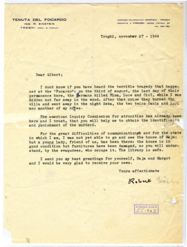 Lettera di Robert Einstein al cugino Albert, 27 novembre 1944. - Jewish National and University Library, Gerusalemme, Albert Einstein Archives