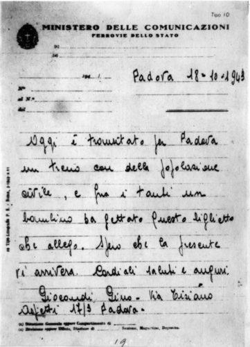 """Lettera scritta da un ferroviere che alla stazione di Padova raccolse un biglietto lanciato dal treno di deportazione degli ebrei arrestati a Roma il 16 ottobre - Archivio CDEC, Fondo Vicissitudini dei singoli, b. 6, fasc. 193 - <a href=""""http://digital-library.cdec.it/cdec-web/storico/detail/IT-CDEC-ST0005-000282/di-cave-edmondo.html"""" target=""""_blank""""  >vai alla scheda</a>"""