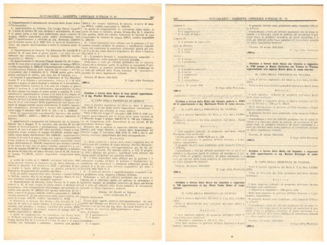 Decreto di sequestro della bandiera italiana e altri beni al rabbino Riccardo Pacifici - CDEC, Biblioteca (Gazzetta Ufficiale n. 91, 18 aprile 1944)