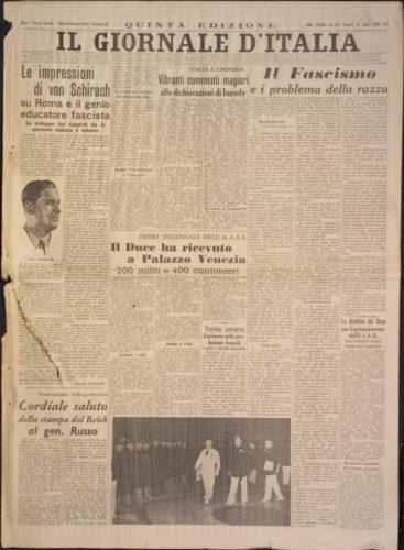 """""""Il fascismo e i problemi della razza"""", Giornale d'Italia, 15 luglio 1938 - Biblioteca nazionale centrale, Firenze"""