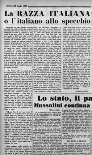 """Gianfranchi (Franco Venturi), La razza italiana o l'italiano allo specchio, """"Giustizia e libertà"""", 22 luglio 1938 - INSMLI, Biblioteca"""