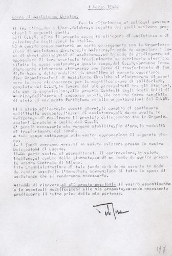 La collaborazione fra la Delasem e il Comitato Nazionale di Liberazione dell'opera di assistenza agli ebrei in una relazione di Raffaele Jona, 1 marzo 1945 - INSMLI, Archivio CLNAI, b. 2