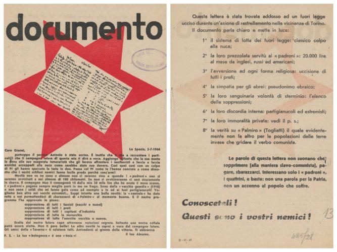 Volantino antisemita diffuso nella Repubblica Sociale Italiana - Archivio CDEC, Fondo Legislazione antiebraica