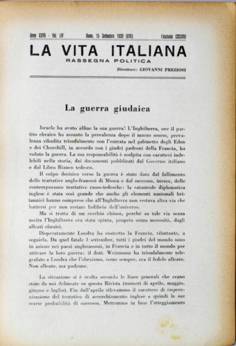 """Giovanni Preziosi, La guerra giudaica, """"La vita italiana"""" settembre 1939 - Biblioteca CDEC"""