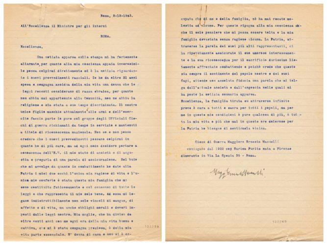 Lettera del maggiore Ernesto Mansuelli, cieco di guerra, sulla moglie di 'razza ebraica', 2 dicembre 1943. Il dramma delle famiglie miste di fronte all'ordine di arresto - ACS, MI, DGDR, b. 18 (concessione n. 484/04)