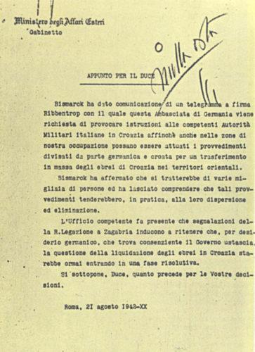 Nulla osta autografo di Mussolini alla consegna ai tedeschi degli ebrei croati. 21 agosto 1942 - Ministero affari esteri, Roma