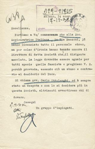 Lettera anonima contro un ebreo indirizzata al prefetto di Milano da persone che speravano di approfittare di licenziamenti degli ebrei, 14 dicembre 1938 -  AdS Milano, gabinetto di prefettura, II categoria, b.16