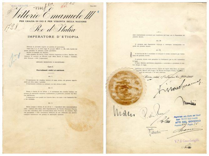 Regio decreto legge n.1728 del 17 novembre 1938. Il provvedimento legislativo più importante tra quelli emanati nel 1938-1939 - ACS, Raccolta leggi e decreti (concessione n. 484/04)