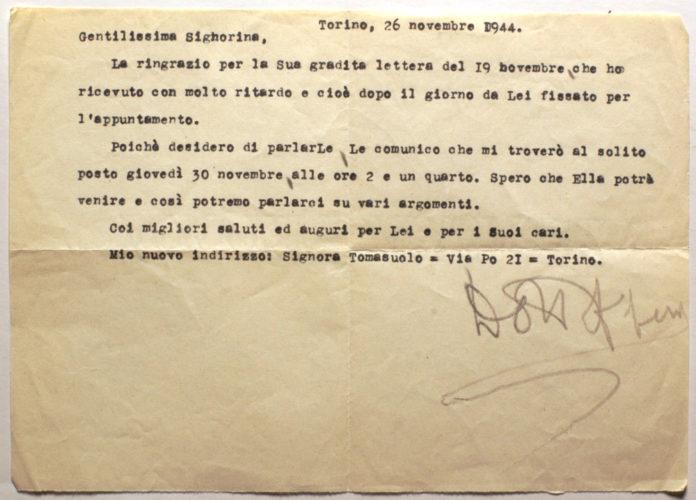 Richiesta di incontro a Lia Corinaldi, membro della rete di soccorso agli ebrei in clandestinità, 26 novembre 1944 - Archivio CDEC, Fondo Raffaele Jona, b. 1, fasc. 1