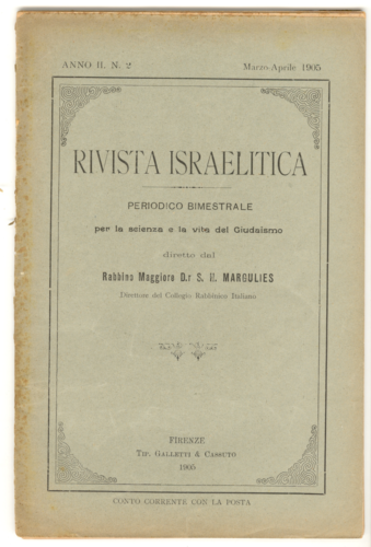 """""""Rivista israelitica"""", bimestrale pubblicato a Firenze dal 1904 al 1915 - Biblioteca CDEC - <a href=""""http://digital-library.cdec.it/cdec-web/biblioteca/detail/periodical-CDEC10400001911/rivista-israelitica-periodico-bimestrale-scienza-e-vita-del-giudaismo.html"""" target=""""_blank""""  >vai alla scheda</a>"""