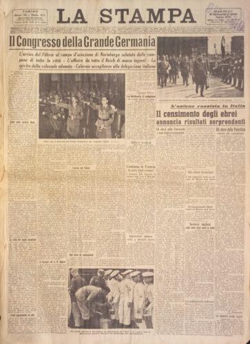 """Il censimento degli ebrei annuncia risultati sorprendenti, """"La Stampa"""", 6 settembre 1938 - Biblioteca nazionale centrale, Firenze"""