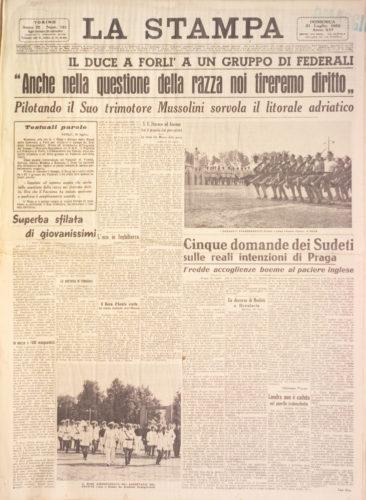 """Anche sulla questione della razza noi tireremo dritti, """"La Stampa"""", 31 luglio 1938 - Biblioteca nazionale, Firenze"""