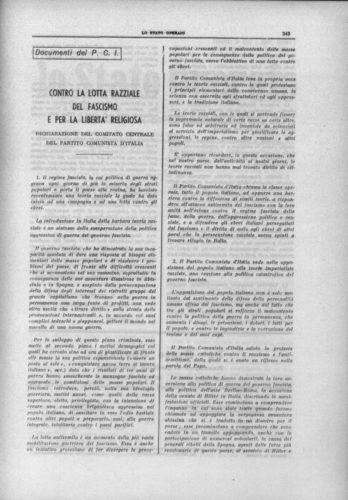"""Contro la lotta razziale del fascismo e per la libertà religiosa. Dichiarazione del comitato centrale del Partito comunista d'Italia, """"Stato operaio"""", 20 agosto 1938 - INSMLI, Biblioteca"""