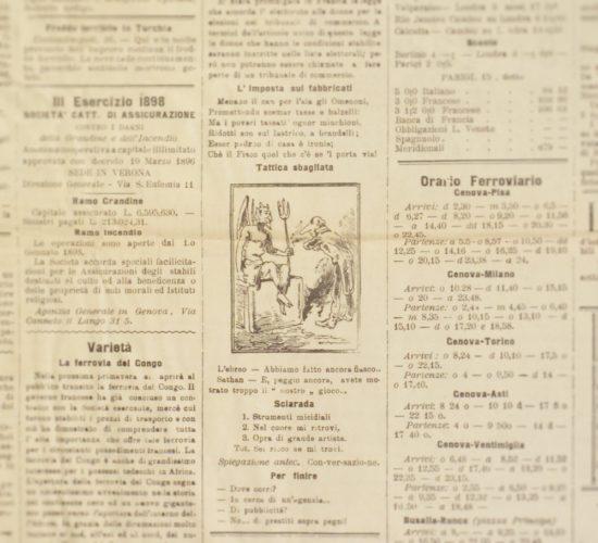 """Tattica sbagliata, """"L'Eco d'Italia"""", 16-17 febbraio 1898. Lo stereotipo dell'alleanza fra il diavolo e gli ebrei. -  Biblioteca nazionale centrale, Firenze"""