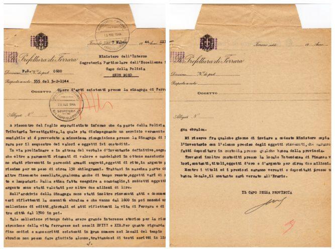 Censimento delle opere d'arte della sinagoga di Ferrara effettuato dalla Prefettura di Ferrara nel marzo del 1944 - ACS, MI, DGPS, AGR, A5G II guerra mondiale, b. 151 (concessione n. 484/04)