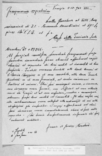 Ordine di arresto degli ebrei di Venezia, 5 dicembre 1943 - AdS Venezia, Prefettura, Gabinetto, 1943, f. 4099 (concessione n. 6/2006)