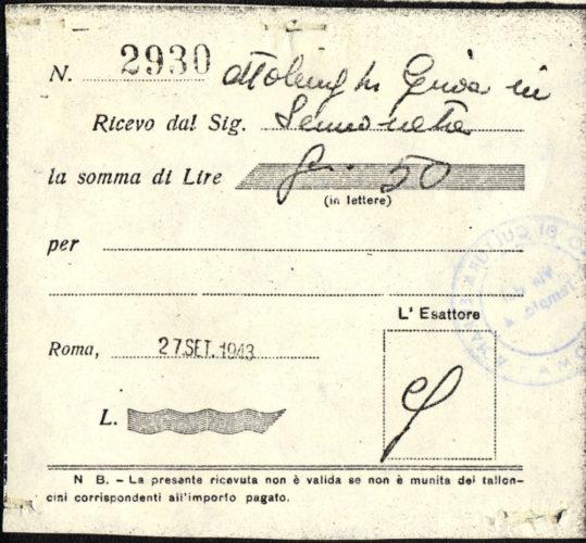 Ricevuta a nome Elda Della Riccia per il versamento alla Comunità israelitica di Roma di parte dell'oro estorto dai nazisti nel settembre 1943 - Comunità ebraica Roma, Archivio storico