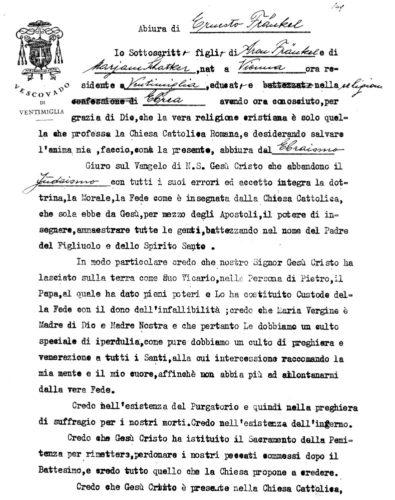 Dichiarazione alla chiesa cattolica di abiura dall'ebraismo - Archivio della curia vescovile di Ventimiglia