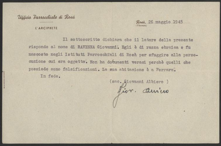 """Dichiarazione dell'arciprete di Rosà relativa all'identità di Giovanni Ravenna, 26 maggio 1945 - Archivio CDEC, Fondo Vicissitudini dei singoli, b. 21, fasc. """"Ravenna Giovanni""""   - <a href=""""http://digital-library.cdec.it/cdec-web/storico/detail/IT-CDEC-ST0005-000741/ravenna-giovanni.html"""" target=""""_blank""""  >vai alla scheda</a>"""