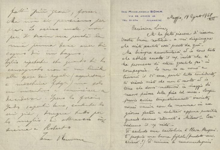 """Lettera di Margherita Luzzatto alla figlia del 19 agosto 1938. La preoccupazione di fronte alla stampa antisemita - Archivio privato, Pinerolo   - <a href=""""http://digital-library.cdec.it/cdec-web/persone/detail/person-4548/luzzatto-margherita.html"""" target=""""_blank""""  >vai alla scheda</a>"""