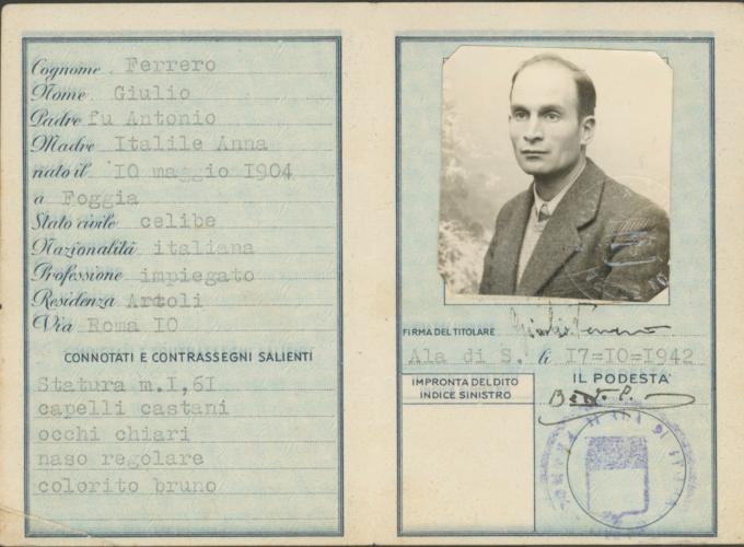 "Carta d'identità falsa di Raffaele Jona - 2 - Archivio CDEC, Fondo Raffaele Jona, b. 1, fasc. 4 - <a href=""http://digital-library.cdec.it/cdec-web/storico/detail/IT-CDEC-ST0025-000017/documenti-personali-raffaele-jona.html"" target=""_blank""  >vai alla scheda</a>"
