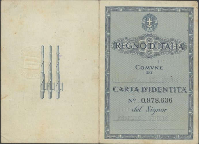 "Carta d'identità falsa di Raffaele Jona - 1 - Archivio CDEC, Fondo Raffaele Jona, b. 1, fasc. 4 - <a href=""http://digital-library.cdec.it/cdec-web/storico/detail/IT-CDEC-ST0025-000017/documenti-personali-raffaele-jona.html"" target=""_blank""  >vai alla scheda</a>"