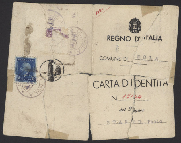 "Carta d'identità falsa di Paolo Steiner - 1 - Archivio CDEC, Fondo Vicissitudini dei singoli, b. 26, fasc. 724 - <a href=""http://digital-library.cdec.it/cdec-web/storico/detail/IT-CDEC-ST0005-000862/steiner-paolo.html"" target=""_blank""  >vai alla scheda</a>"
