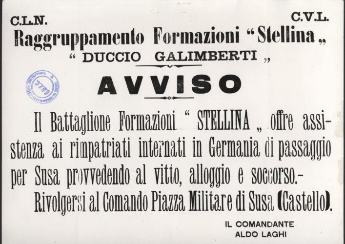 """Avviso della Divisione Stellina, comandata da Aldo Laghi, nome di battaglia di Giulio Bolaffi - Archivio CDEC, Fondo antifascisti e partigiani ebrei, b. 3, fasc. 37  - <a href=""""http://digital-library.cdec.it/cdec-web/storico/detail/IT-CDEC-ST0002-000041/bolaffi-giulio.html"""" target=""""_blank""""  >vai alla scheda</a>"""