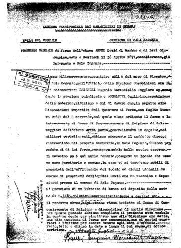 Verbale di fermo di David Apfel, 8 dicembre 1943 - AdS Parma, Questura, cat. A13B, b. 1 (autorizzazione del 16/09/2004, prot. n. 3221/V.9.3)