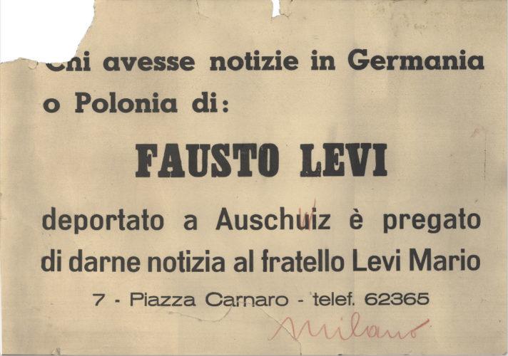 """Cartello di ricerca di un parente deportato affisso sui muri di Milano - CDEC, Archivio storico - <a href=""""http://digital-library.cdec.it/cdec-web/persone/detail/person-4527/levi-fausto.html"""" target=""""_blank""""  >vai alla scheda</a>"""