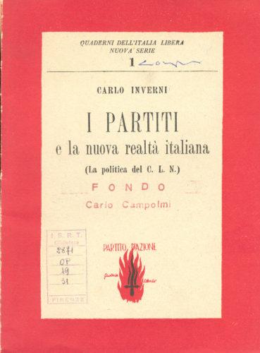 Uno scritto di Vittorio Foa con lo pseudonimo di Carlo Inverni, marzo 1944 - ISRT, Biblioteca