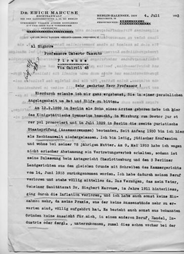 """Lettera di Erich Marcuse a Umberto Cassuto, Berlino 4 luglio 1933. Richiesta di informazioni sulle possibilità di impiego in Italia. - Comunità ebraica Firenze, Archivio storico, Fondo Gestione comunità, beneficienza, busta E 20.9 - <a href=""""http://digital-library.cdec.it/cdec-web/persone/detail/person-19442/cassuto-umberto-moshe-david.html"""" target=""""_blank""""  >vai alla scheda</a>"""