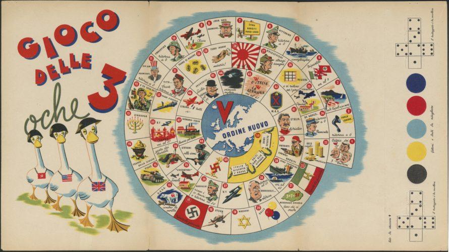Il gioco delle 3 oche distribuito dalla Propaganda Staffel in Italia - Archivio CDEC, Fondo Legislazione antiebraica
