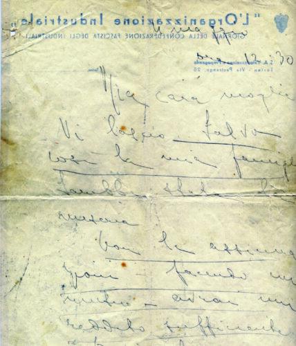 Ultima lettera di Emilio Foa alla moglie non ebrea prima di togliersi la vita, 4 maggio 1939 - Torino, Archivio privato