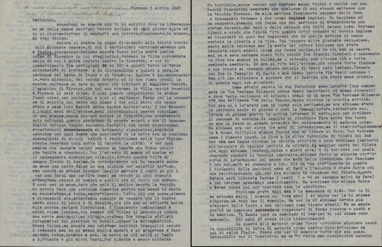 Lettera di Gino Belgrado sull'arresto del suocero Goffredo Passigli e dei figli a Firenze, 5 aprile 1945 - Archivio privato, Fiesole