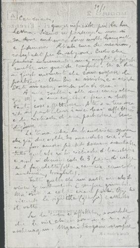 """Lettera del rabbino Nathan Cassuto inviata dal carcere Le Murate di Firenze, alla suocera, Emma Della Pergola. 19 gennaio 1944. - Archivio CDEC, Fondo Vicissitudini dei singoli, b. 4, fasc. 122 - <a href=""""http://digital-library.cdec.it/cdec-web/storico/detail/IT-CDEC-ST0005-000211/cassuto-nathan.html"""" target=""""_blank""""  >vai alla scheda</a>"""