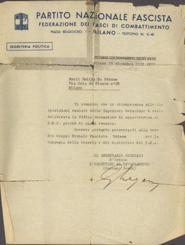 """Espulsione di Emilio Brull dal Partito nazionale fascista, 19 dicembre 1938 - Archivio CDEC, Fondo Vicissitudini dei singoli, b. 3, faasc. 84  - <a href=""""http://digital-library.cdec.it/cdec-web/storico/detail/IT-CDEC-ST0005-000176/brull-emilio.html"""" target=""""_blank""""  >vai alla scheda</a>"""