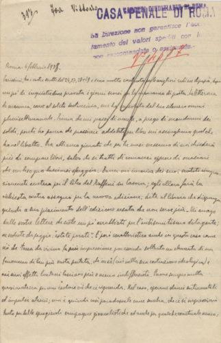 Lettera di Vittorio Foa ai genitori dal carcere, Roma, 4 febbraio 1938 - Archivio privato, Roma