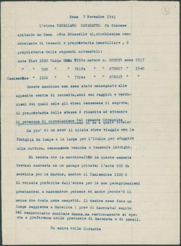 """Delazione di un """"amico della Germania"""" contro Benedetto Veneziano, 7 novembre 1943 - Archivio CDEC, Fondo Vicissitudini dei singoli,  b. 29, fasc. """"Benedetto Veneziano"""" - <a href=""""http://digital-library.cdec.it/cdec-web/storico/detail/IT-CDEC-ST0005-000922/veneziano-benedetto.html"""" target=""""_blank""""  >vai alla scheda</a>"""