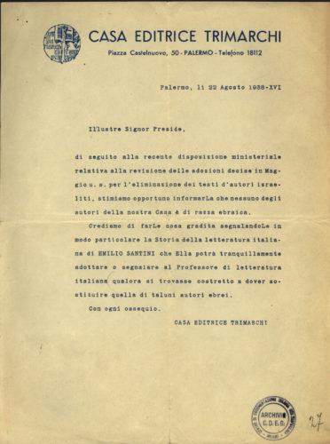 Lettera della casa editrice Trimarchi ai presidi, 22 agosto 1938. - L'esclusione dei libri di autore ebreo dette nuovo slancio al mercato editoriale scolastico.  Archivio CDEC, Fondo Legislazione antiebraica