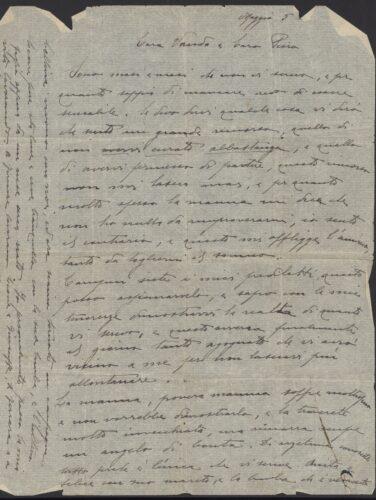 Lettera di Goffredo Passigli alla figlia Vanda e al genero, emigrati in Inghilterra, 5 maggio 1939. - Archivio privato, Fiesole