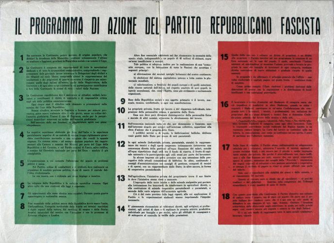 """La """"Carta di Verona"""": il manifesto programmatico della Repubblica Sociale Italiana. Il punto 7 riguarda la politica antiebraica - Civico Museo di guerra per la pace Diego de Henriquez, Trieste"""
