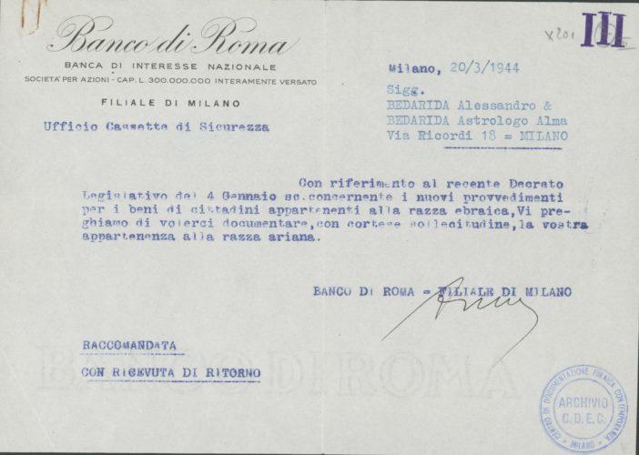 Richiesta del Banco di Roma di documentare l'appartenenza alla 'razza ariana', 20 marzo 1944 - Archivio CDEC, Fondo Legislazione antiebraica