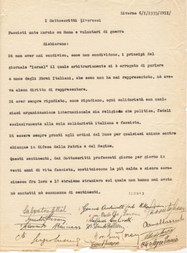 Dichiarazione antisionista e di fedeltà fascista di un gruppo di ebrei di Livorno, 6 gennaio 1939 - ACS,MI, DGDR, b.4 (concessione n. 484/04)