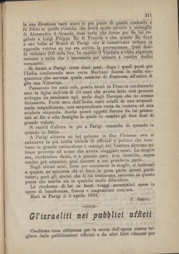 """Gl'israeliti ne pubblici uffici, """"Vessillo Israelitico"""", 1883 - Biblioteca CDEC - <a href=""""http://cdecviewer.xdams.net/riviste/vessillo/VESSILLO_ISRAELITICO_VOLUME_XXXI_1883_ottobre.html#page/8/mode/2up"""" target=""""_blank""""  >vai alla scheda</a>"""