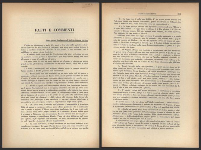 """Giovanni Preziosi, """"Dieci punti fondamentali del problema ebraico"""", in """"La vita italiana"""", agosto 1937. - Biblioteca CDEC"""